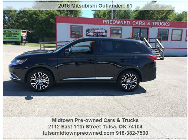 2016 MITSUBISHI OUTLANDER.. TRADE IN ANY CAR OR PUT JUST 500 DOWN