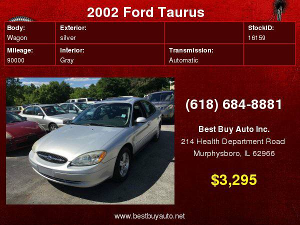 2002 Ford Taurus SEL Deluxe 4dr Sedan Call Steve or Dean at