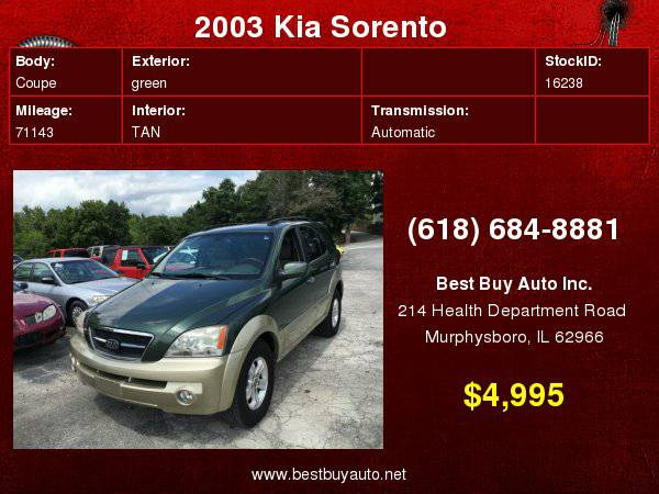 2003 Kia Sorento EX 4WD 4dr SUV Call Steve or Dean at