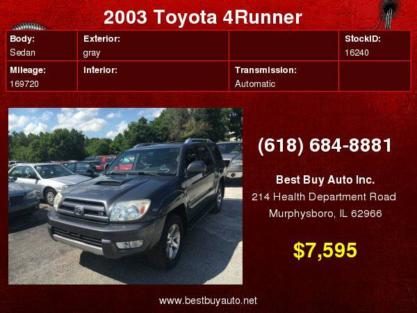 2003 Toyota 4Runner SR5 4WD 4dr SUV Call Steve or Dean at