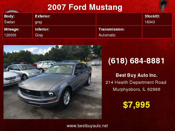 2007 Ford Mustang V6 Premium 2dr Coupe Call Steve or Dean at