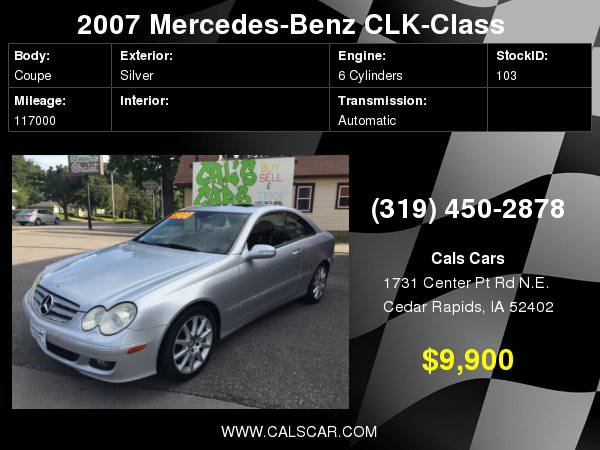 2007 Mercedes-Benz CLK-Class 2dr Coupe 3.5L with Parcel net in RH...