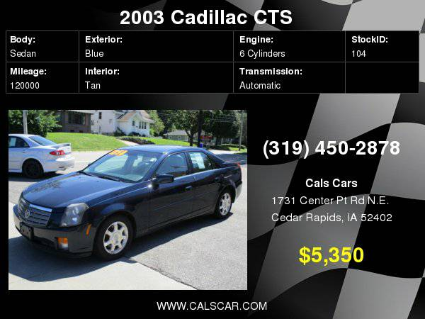 2003 Cadillac CTS 4dr Sdn with Visors, illuminated vanity mirrors,...
