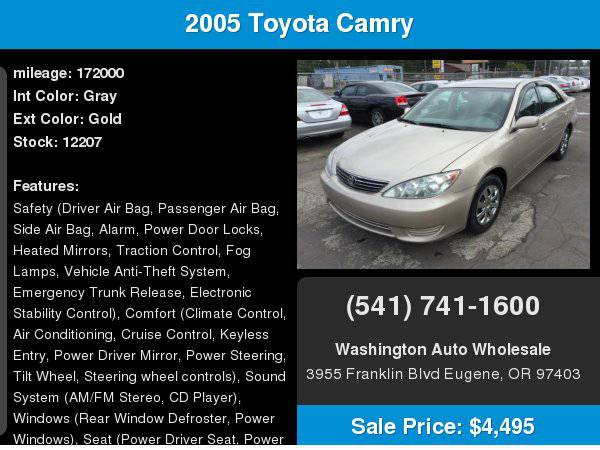 2005 Toyota Camry 4dr Sdn LE Automatic Clean