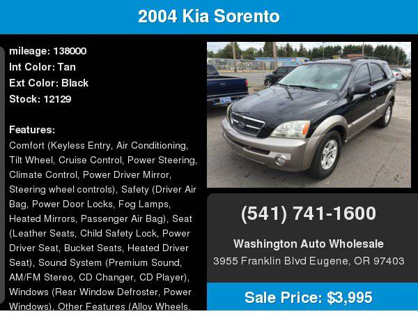 2004 Kia Sorento 4dr EX 4x4 137,000Miles Leather