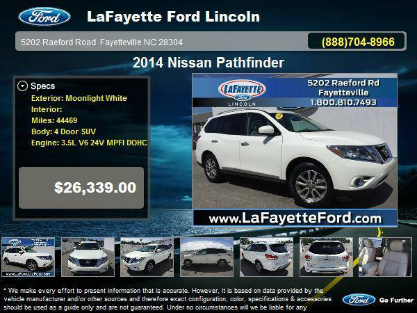 2014 Nissan Pathfinder 4 Door SUV Moonlight White