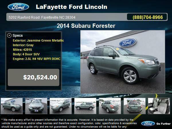 2014 Subaru Forester 4 Door SUV Jasmine Green Metallic