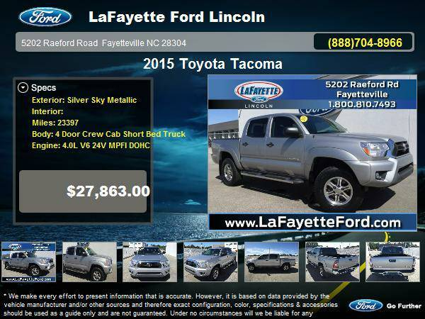 Stock G8528A Toyota 2015 Tacoma 4 Door Crew Cab Short Bed Truck