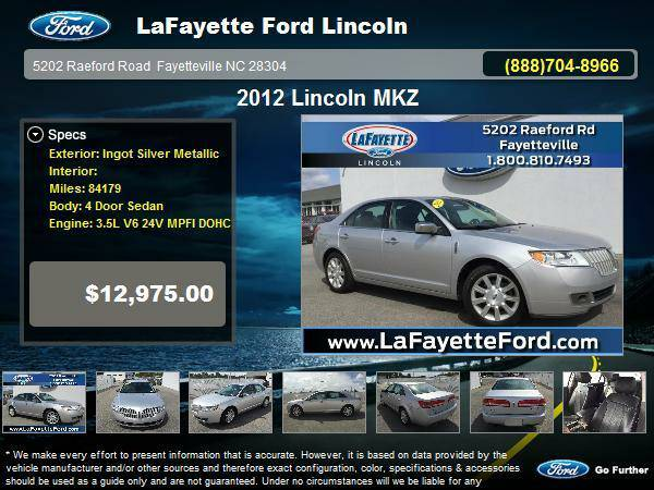 2012 Lincoln MKZ 4 Door Sedan Ingot Silver Metallic