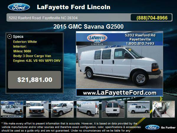 2015 GMC Savana G2500 3 Door Cargo Van only 9,080 miles