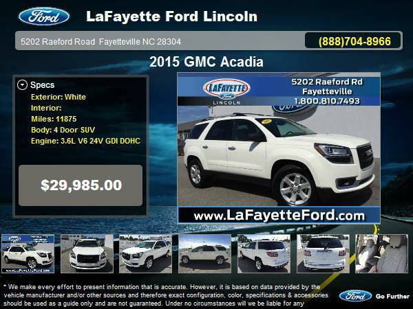 2015 GMC Acadia 4 Door SUV White
