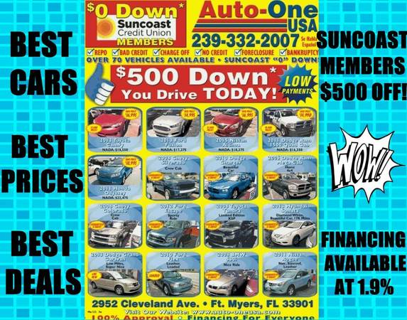 $500 DOWN! LOW,LOW PAYMENTS! BEAUTIFUL CARS! AMAZING PRICES!