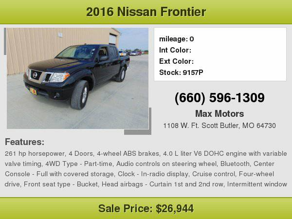 2016 Nissan Frontier **WE FINANCE**WE LOVE TRADE-INS**
