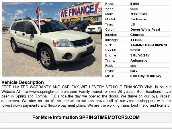 2006 Mitsubishi Endeavor LS $900/limited warranty/carfax Easy...