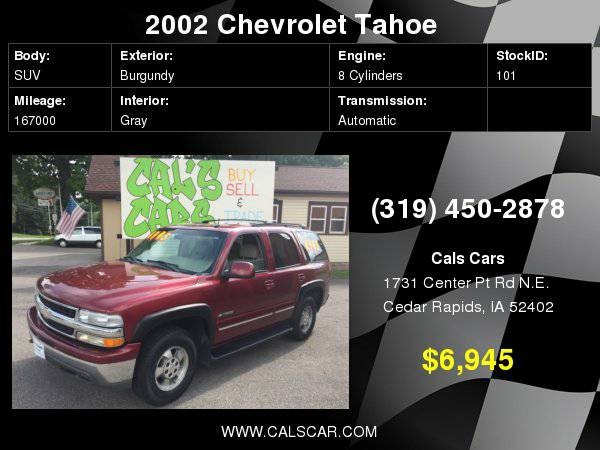 2002 Chevrolet Tahoe 4dr 1500 4WD LT with Homelink universal garage...