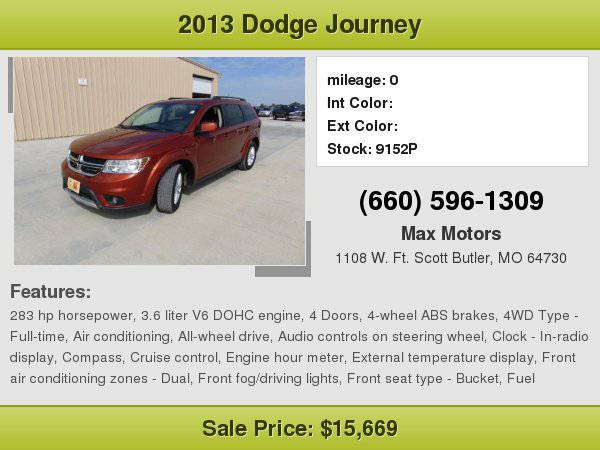2013 Dodge Journey SXT **WE FINANCE**WE LOVE TRADE-INS**