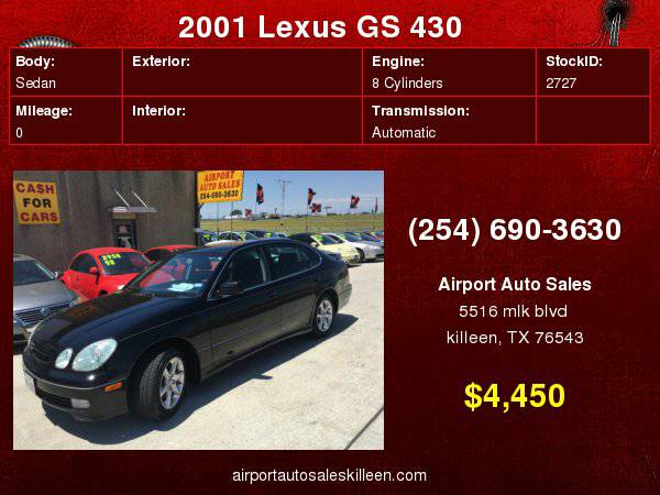 2001 Lexus GS 430 4dr Sdn with 4-wheel, 4-channel anti-lock braking...