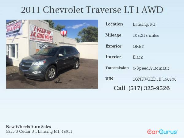 2011 Chevrolet Traverse LT1 AWD // + 1 YEAR WARRANTY INCLUDED...