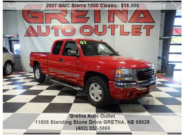 2007 GMC Sierra*SLE 4X4 ONLY 89K EXT CAB 4X4 HUSKER RED LOADED UP*CALL