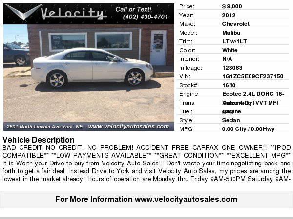 2012 Chevrolet Malibu LT Bad Credit, No Credit, Let Us Help
