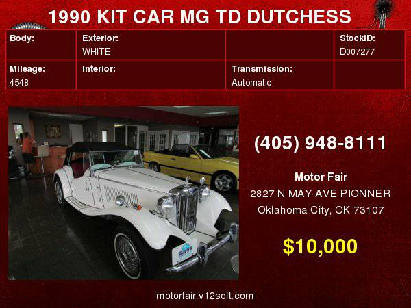 1990 KIT CAR MG TD DUTCHESS **You Are Approved!**