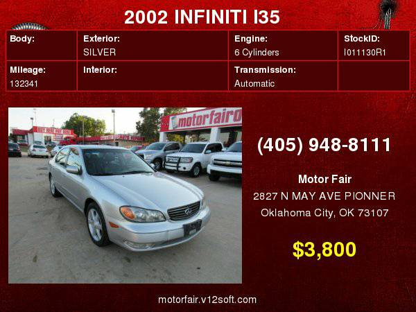 2002 INFINITI I35 **You Are Approved!**