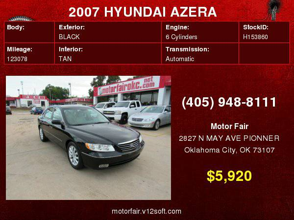 2007 HYUNDAI AZERA SE **You Are Approved!**