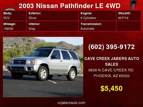 2003 Nissan Pathfinder LE 4WD Auto