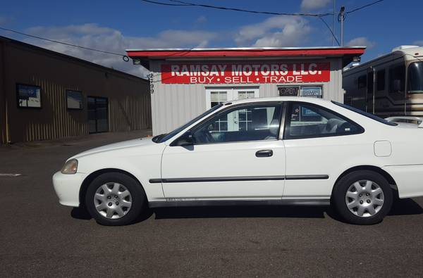 1999 Honda Civic DX Coupe, White, NEW Tires! 5 Spd, CLEAN Title!
