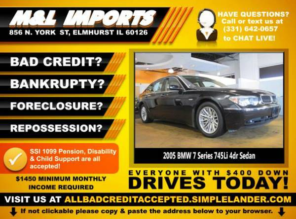 🌟 2005 *BMW 7 Series* BAD CREDIT? Drive something NICE for...