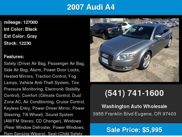 2007 Audi A4 2007.5 4dr Sdn Auto 2.0T quattro
