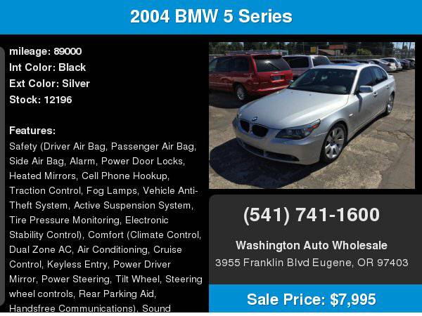 2004 BMW 5 Series 530i 89,000Miles Extra Nice Moonroof/Leather/Loaded