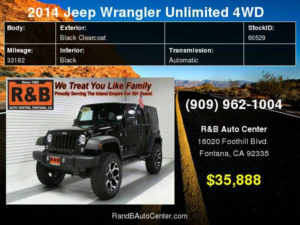 2014 Jeep Wrangler Unlimited Sport Easy Financing For All Credit