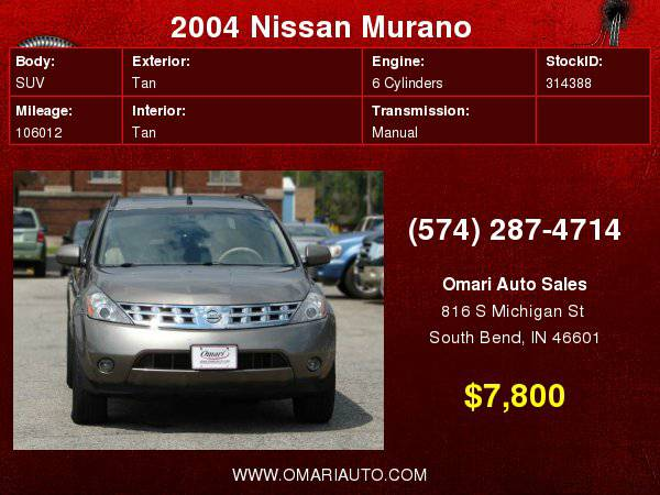 2004 Nissan Murano . Easy Financing! As low as $600 down.
