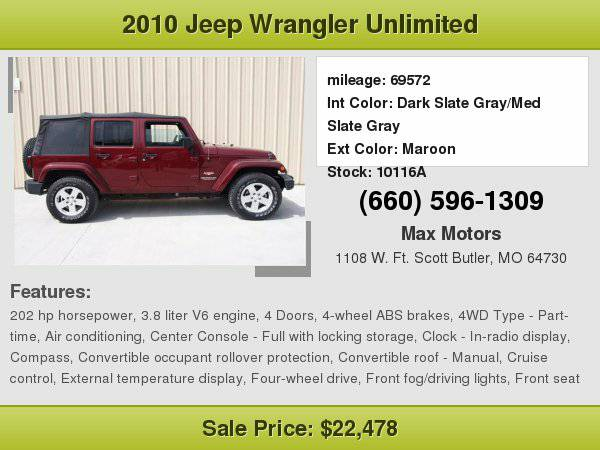 2010 Jeep Wrangler Unlimited Sahara **WE FINANCE**WE LOVE TRADE-INS**