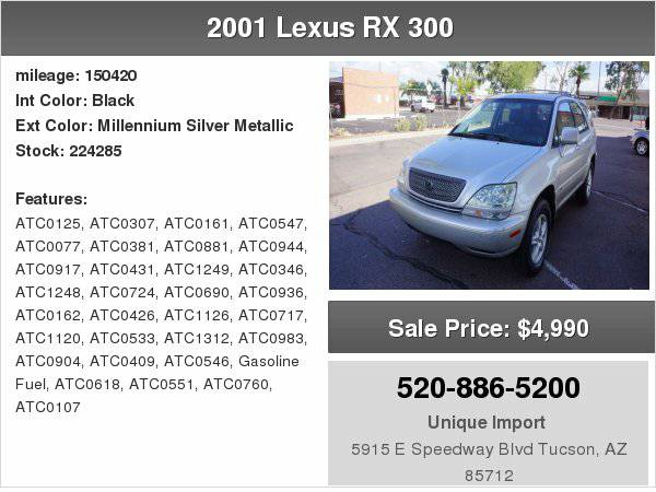 2001 Lexus RX 300 300 We finance any one with right down payment!!!!!