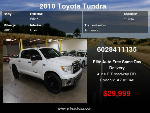 2010 Toyota Tundra CrewMax 5.7L FFV V8 6-Speed Automatic