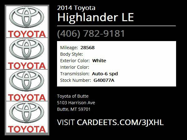 2014 Toyota Highlander LE - Good Credit, Bad Credit, No Problem