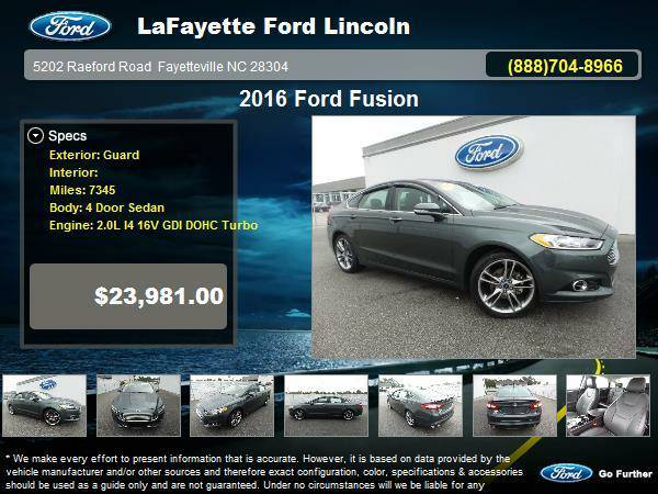 Certified: 2016 Ford Fusion 4 Door Sedan Guard