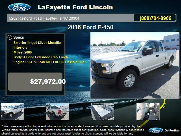 Certified: 2016 Ford F-150 4 Door Extended Cab Truck Ingot Silver...