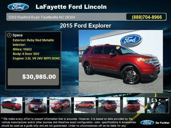 2015 Ford Explorer 4 Door SUV Ruby Red Metallic
