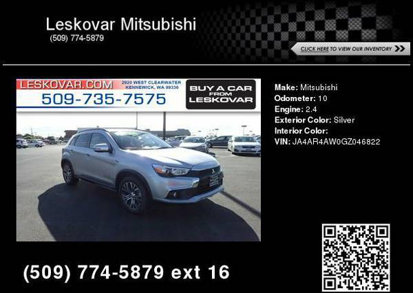 2016 Mitsubishi Outlander Sport 2.4 SEL AWD 4dr Crossover Silver