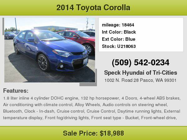 2014 Toyota Corolla S Plus with