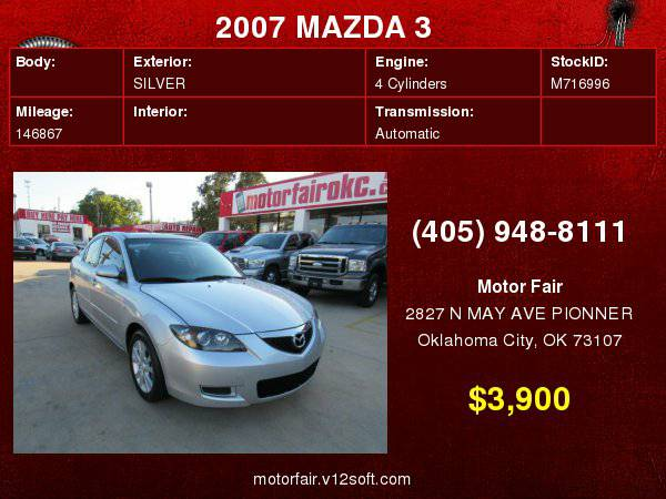 2007 MAZDA 3 I **You Are Approved!**