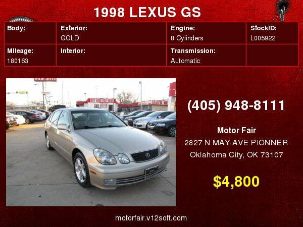1998 LEXUS GS 400 **You Are Approved!**