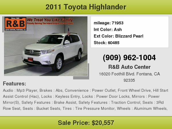 2011 Toyota Highlander Base Easy Financing For All Credit