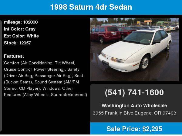 1998 Saturn 4dr Sedan SL2 Auto 102,000Miles Moonroof