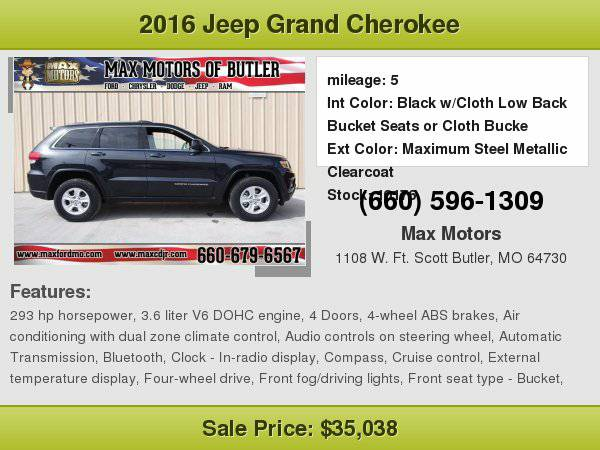 2016 Jeep Grand Cherokee Laredo **WE FINANCE**WE LOVE TRADE-INS**