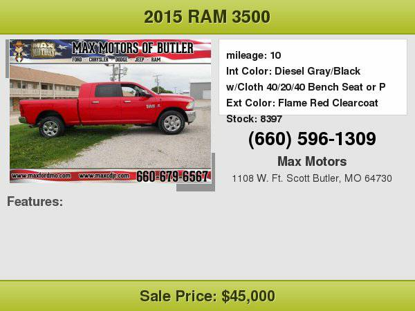 2015 Ram 3500 SLT $12500 OFF Msrp!!! **WE FINANCE**WE LOVE TRADE-INS**