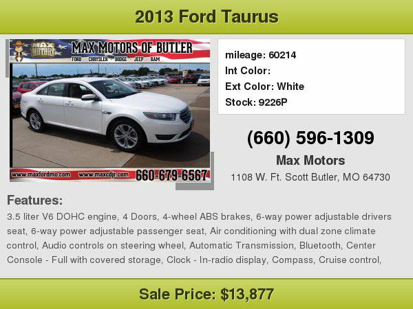 2013 Ford Taurus SEL **WE FINANCE**WE LOVE TRADE-INS**